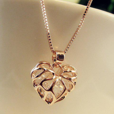 Heart Rhinestone Hollow Out Pendant Necklace - GOLDEN