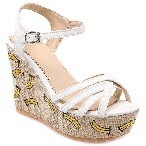 Trendy Embroidery and PU Leather Design Women's Sandals - WHITE 34