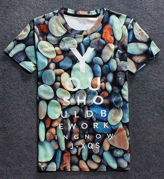 Colorful Stone Letters Print Round Neck Short Sleeves Men's 3D T-Shirt