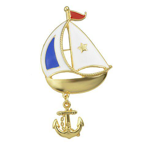 Ship Anchor Star Shape Brooch - GOLDEN