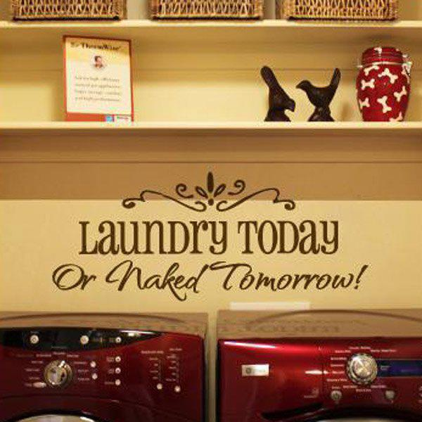 High Quality Laundry Slogan Pattern Removeable Wall Sticker - BLACK
