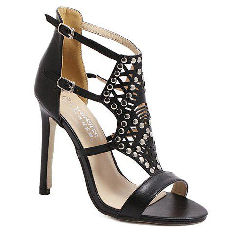 Party Hollow Out and Rivet Design Women's Sandals - BLACK 36