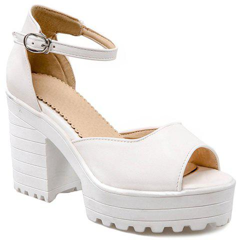 Fashionable Solid Colour and Ankle-Wrap Design Women's Sandals - WHITE 38