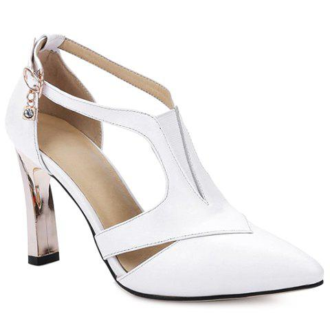 Trendy PU Leather and Solid Color Design Pumps For Women - WHITE 38