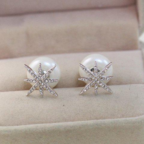 Pair of Stylish Faux Pearl Rhinestone Star Earrings For Women