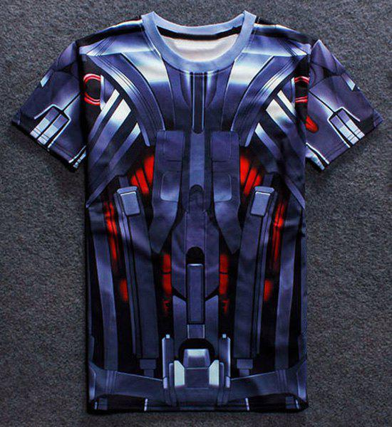 3D Robot Print Round Neck Short Sleeves Men's T-Shirt - M COLORMIX
