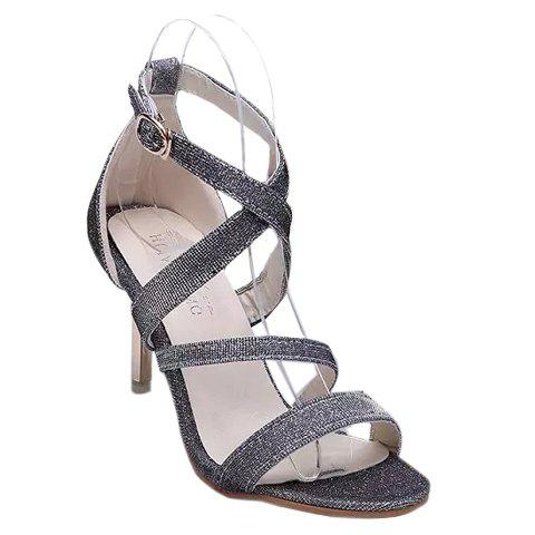 Fashionable Cross Straps and Sequined Design Women's Sandals - SILVER 39