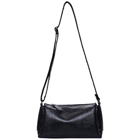 Concise Solid Colour and PU Leather Design Crossbody Bag For Women - BLACK