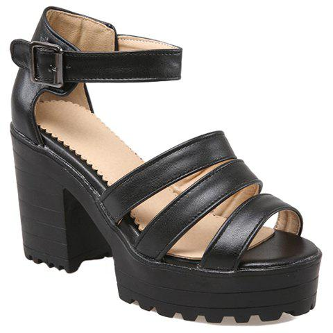 Trendy Solid Colour and Chunky Heel Design Women's Sandals - BLACK 34