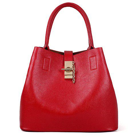 Graceful PU Leather and Solid Colour Design Tote Bag For Women - RED