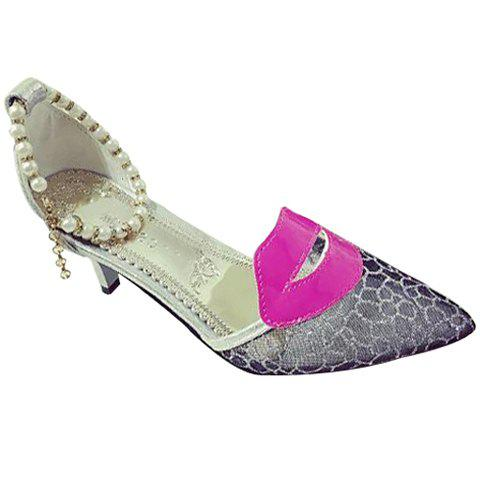 Trendy Beading and Lip Pattern Design Women's Pumps - SILVER 39