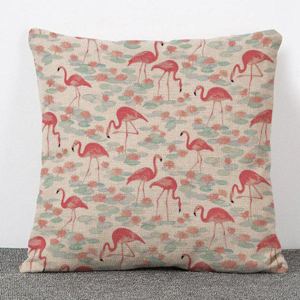 High Quality Flamingo and Lotus Pattern Flax Pillow Case(Without Pillow Inner) - COLORMIX