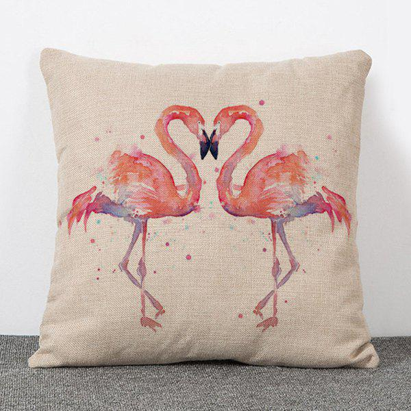 Chic Quality Double Flamingo Pattern Flax Pillow Case(Without Pillow Inner)