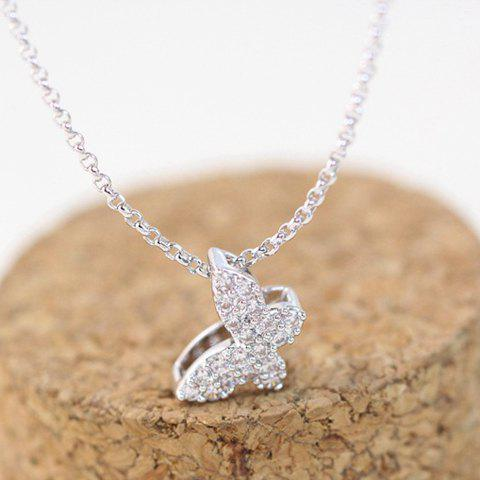 Butterfly Rhinestone Pendant Necklace - SILVER