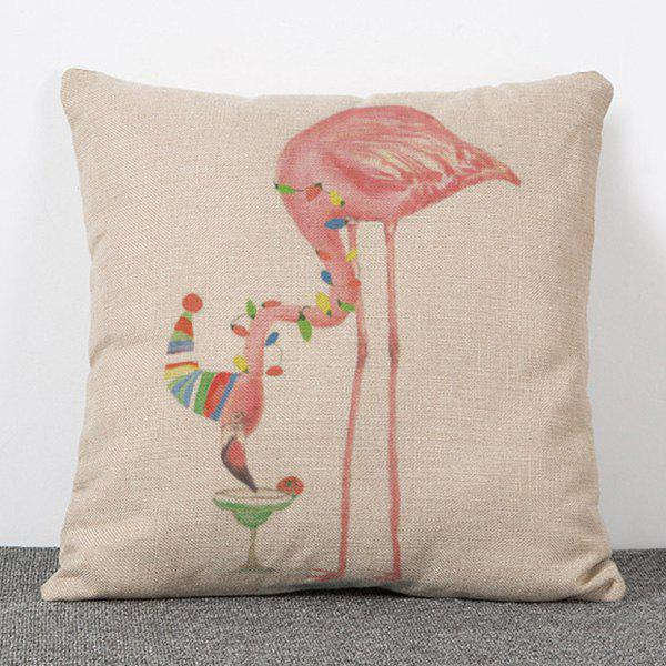 Stylish Art Style Flamingo Pattern Flax Pillow Case(Without Pillow Inner) - APRICOT