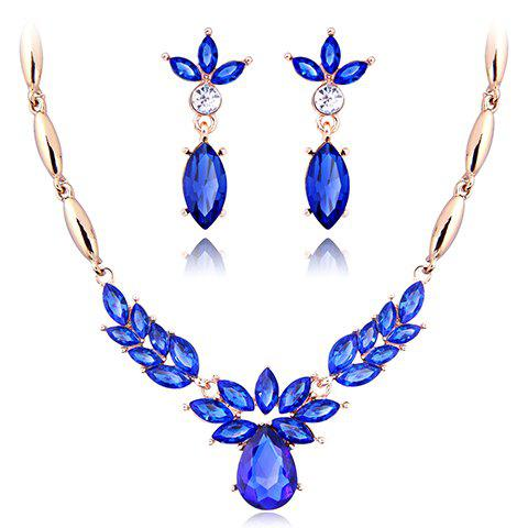 A Suit of Water Drop Rhinestone Necklace and Earrings - BLUE