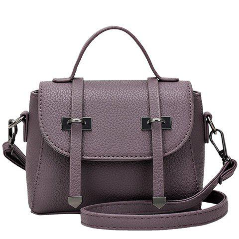 Fashion Strap and PU Leather Design Tote Bag For Women - PURPLE