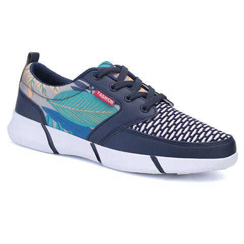 Trendy Splicing and Leaf Pattern Design Men's Athletic Shoes - SAPPHIRE BLUE 44