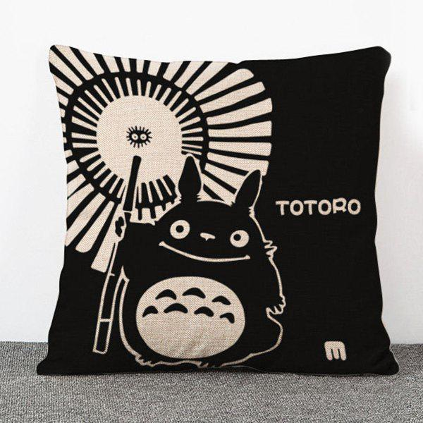 Creative Cartoon Umbrella and Totoro Pattern Flax Pillow Case(Without Pillow Inner) - BLACK