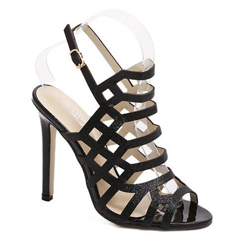 Trendy Stiletto Heel and Hollow Out Design Women's Sandals - BLACK 35