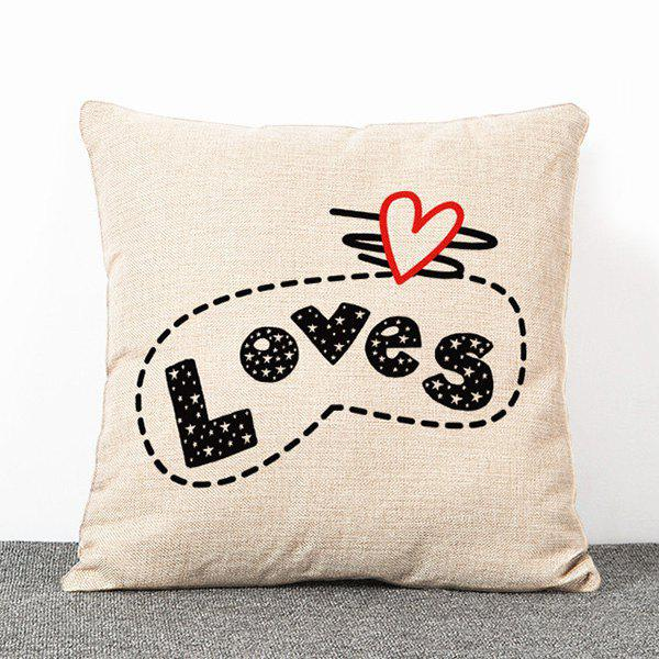 Stylish Stars and Letters Pattern Flax Pillow Case(Without Pillow Inner) - APRICOT