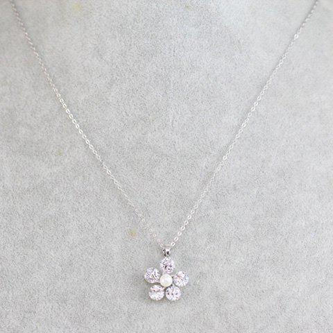 Faux Crystal Floral Design Pendant Necklace - SILVER