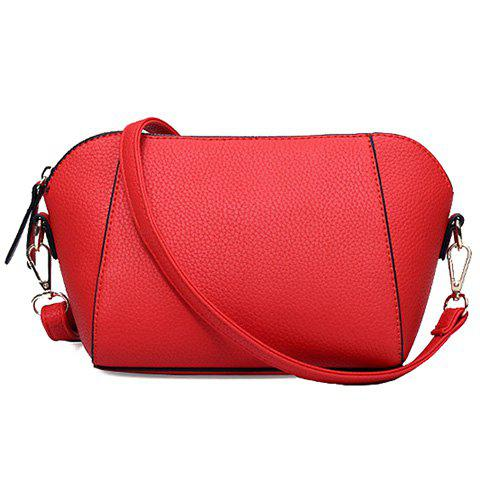 New Arrival Zipper and PU Leather Design Crossbody Bag For Women - RED