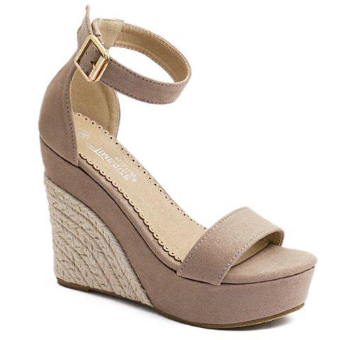 Stylish Wedge Heel and Weaving Design Women's Sandals - APRICOT 36