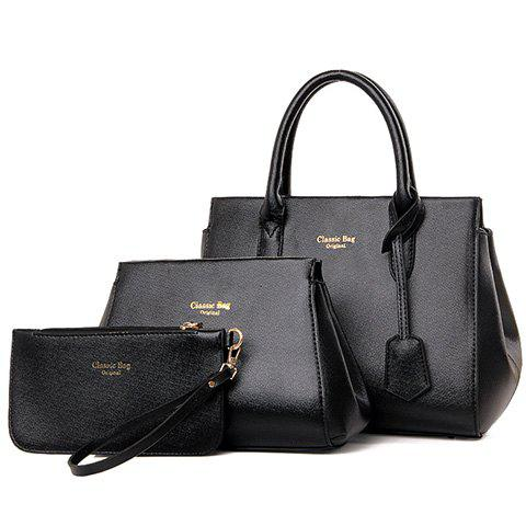 Simple Zip and PU Leather Design Tote Bag For Women - BLACK