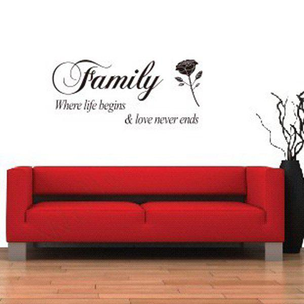 High Quality Rose and Letter Pattern Removeable Wall Sticker - BLACK