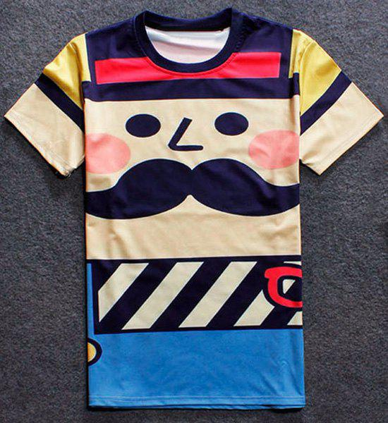Funny Cartoon Pattern Hit Color Round Neck Short Sleeves Men's T-Shirt - COLORMIX S
