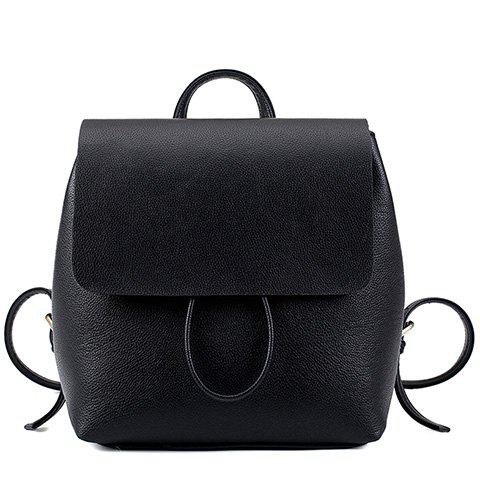 Preppy Style Drawstring and PU Leather Design Backpack For Women