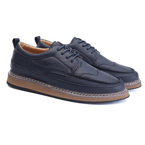Trendy PU Leather and Solid Colour Design Men's Casual Shoes - BLUE 41