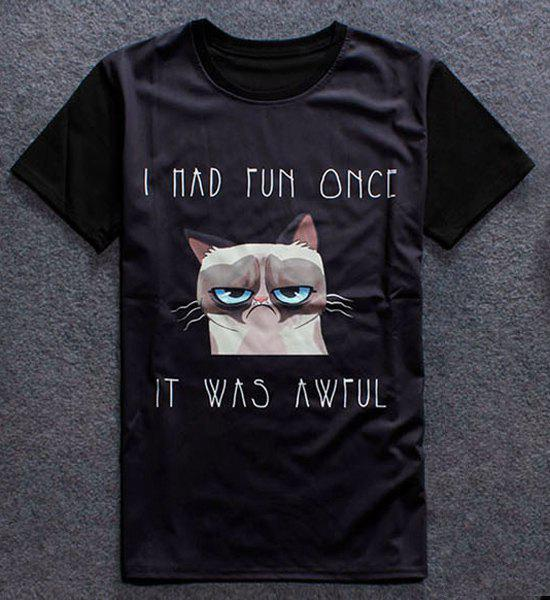 Funny 3D Cartoon Cat Print Round Neck Short Sleeves Men's T-Shirt - BLACK L