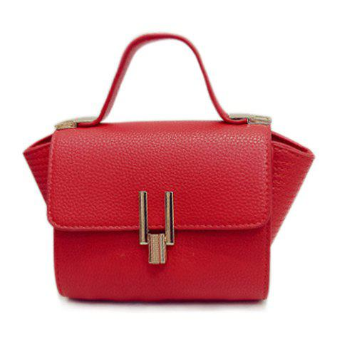 Casual PU Leather and Cover Design Tote Bag For Women - RED