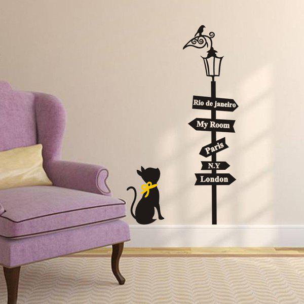 High Quality Street Lamp and Kitten Pattern Removeable Wall Sticker