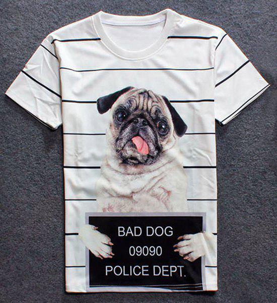 Round Neck 3D Dog Print Short Sleeves Men's Striped T-Shirt
