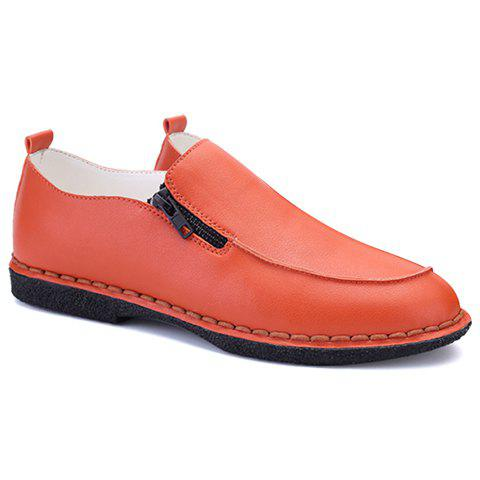 Fashionable Stitching and Zipper Design Men's Casual Shoes - ORANGE 41