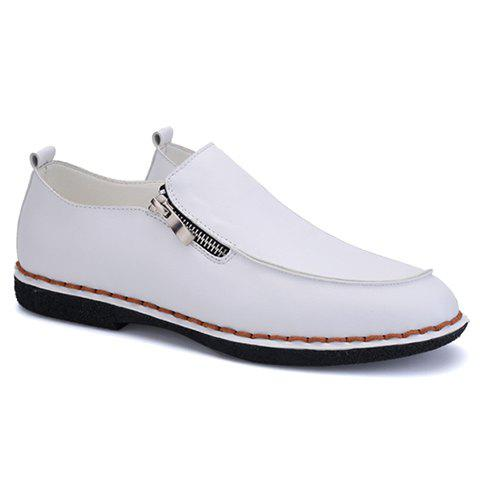Fashionable Stitching and Zipper Design Men's Casual Shoes - WHITE 40