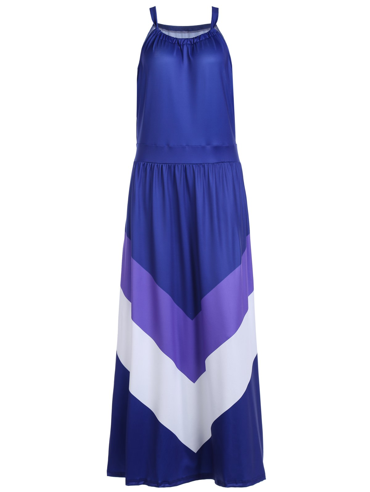 Brief Women's Halter Color Block Floor-Length Sleeveless Dress - DEEP BLUE L
