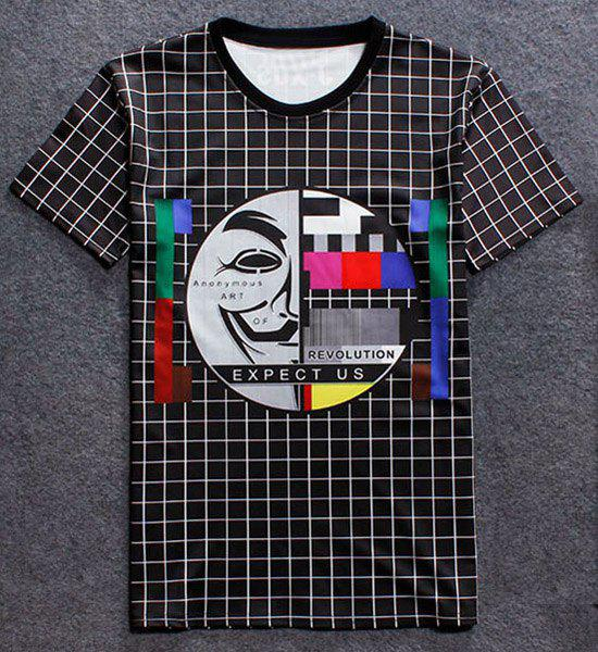 Special Big Face Print Round Neck Short Sleeves Men's Plaid T-Shirt - CHECKED M