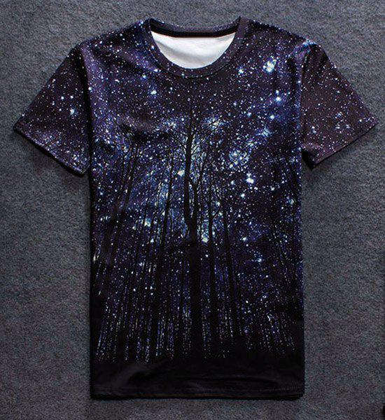 Manches courtes Vogue col rond 3D Starry Sky Arbre d'impression T-shirt - multicolorcolore L
