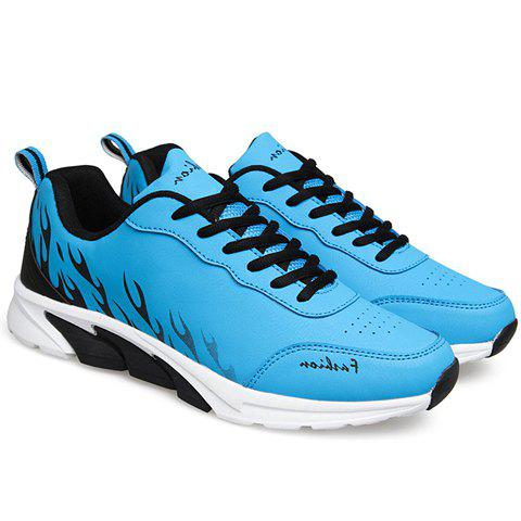 Stylish Flame Print and Lace-Up Design Men's Athletic Shoes - BLUE 43