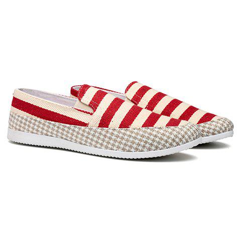 Simple Elastic and Striped Design Men's Casual Shoes - RED 44