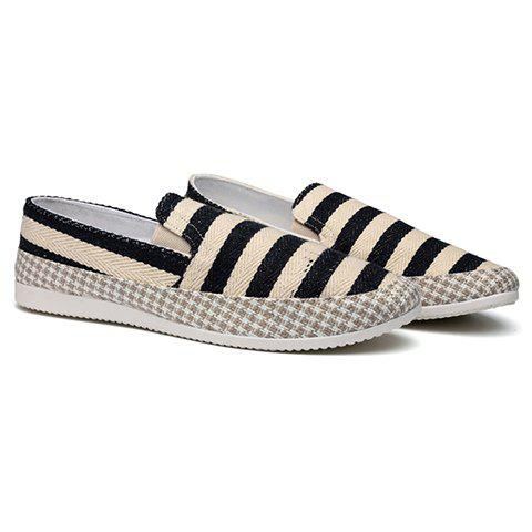 Simple Elastic and Striped Design Men's Casual Shoes - BLACK 42