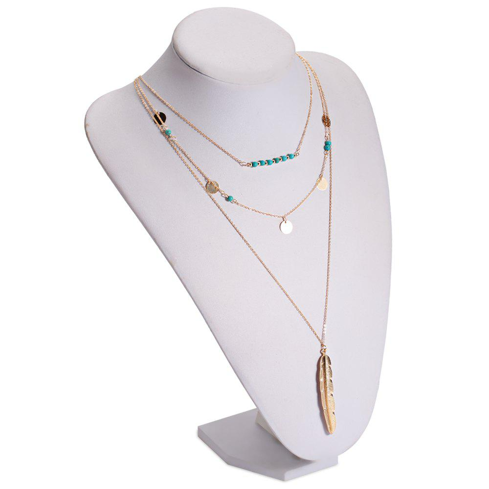 Faux Turquoise Sequins Leaf Layered Necklace - GOLDEN