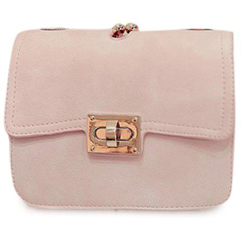 Stylish Solid Colour and PU Leather Design Women's Crossbody Bag - PINK