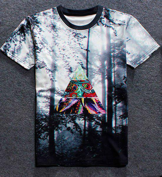 Manches courtes Hot Sale Round Neck Forêt 3D Print T-Shirt - multicolorcolore XL