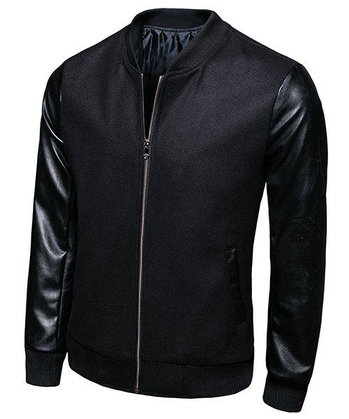 Trendy Stand Collar PU-Leather Rib Splicing Long Sleeve Men's Jacket - BLACK L