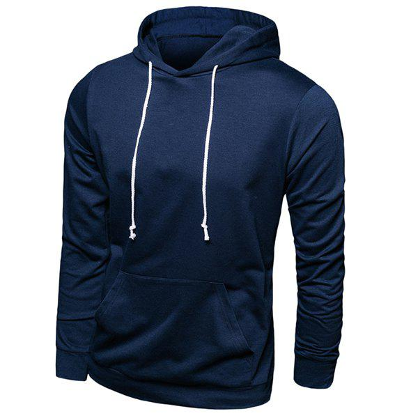 Casual Hooded Front Pocket Solid Color Men's Long Sleeves Hoodie - CADETBLUE L